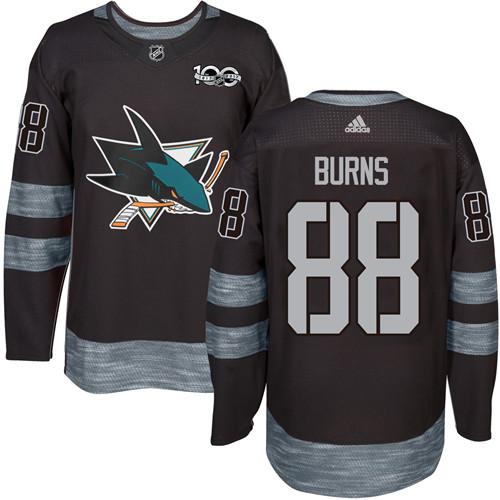 Mens Adidas San Jose Sharks 88 Brent Burns Premier Black 1917-2017 100th  Anniversary NHL 687943c88