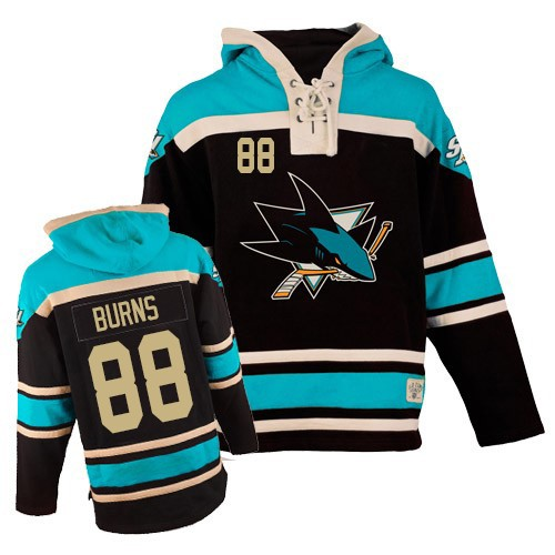 Mens Old Time Hockey San Jose Sharks 88 Brent Burns Authentic Black Sawyer  Hooded Sweatshirt b7e4cc419