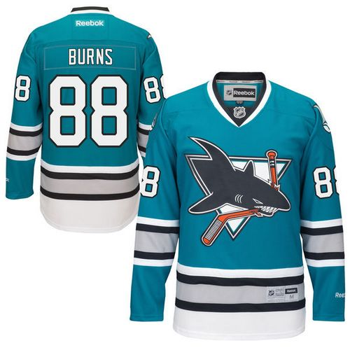 Mens Reebok San Jose Sharks 88 Brent Burns Authentic Teal Green 25th  Anniversary NHL Jersey 728c5b795