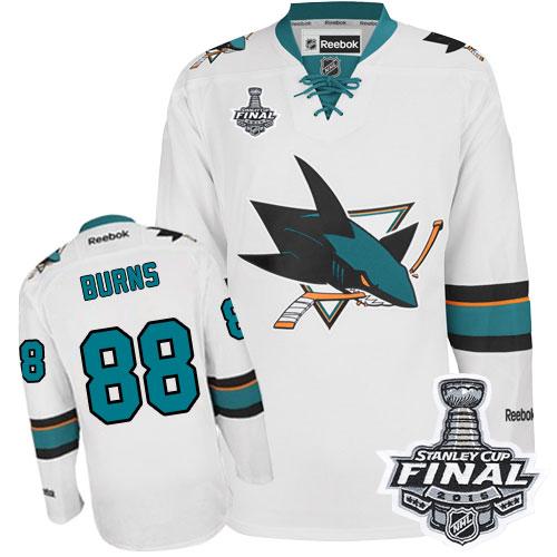 Mens Reebok San Jose Sharks 88 Brent Burns Premier White Away 2016 Stanley  Cup Final Bound 6d03d8c29