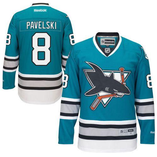 b2d772db1fa Mens Reebok San Jose Sharks 8 Joe Pavelski Authentic Teal Green 25th  Anniversary NHL Jersey