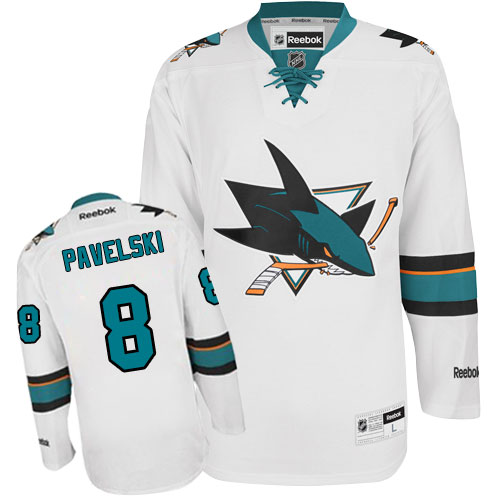 83f530bde47 Womens Reebok San Jose Sharks 8 Joe Pavelski Authentic White Away NHL Jersey