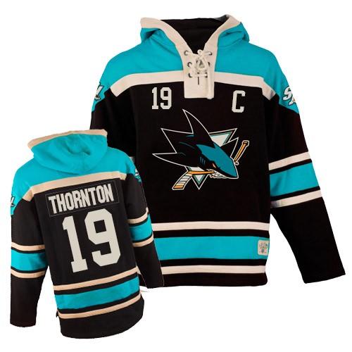 Mens Old Time Hockey San Jose Sharks 19 Joe Thornton Authentic Teal Black Sawyer  Hooded Sweatshirt bd3ecb05c
