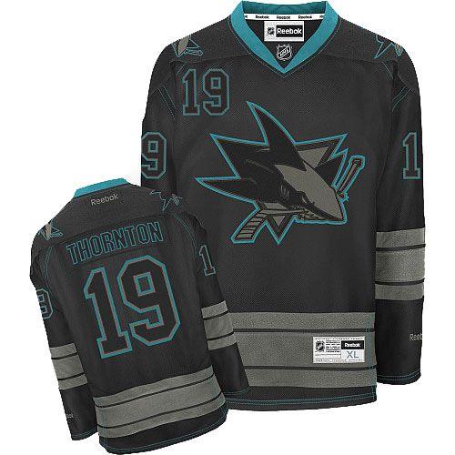 9d72b0ad2 Mens Reebok San Jose Sharks 19 Joe Thornton Authentic Black Ice NHL Jersey