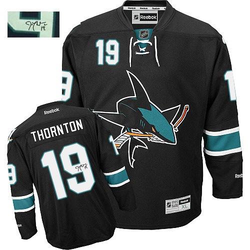 Mens Reebok San Jose Sharks 19 Joe Thornton Authentic Black Third Autographed  NHL Jersey f1f935cc9