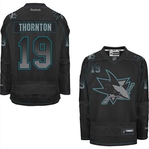 cheap for discount 1072d f1c69 Mens Reebok San Jose Sharks 19 Joe Thornton Premier Black ...