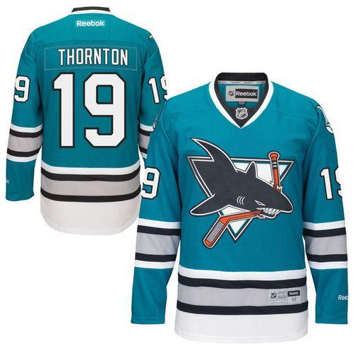 Mens Reebok San Jose Sharks 19 Joe Thornton Premier Teal Green 25th  Anniversary NHL Jersey a08d1167385