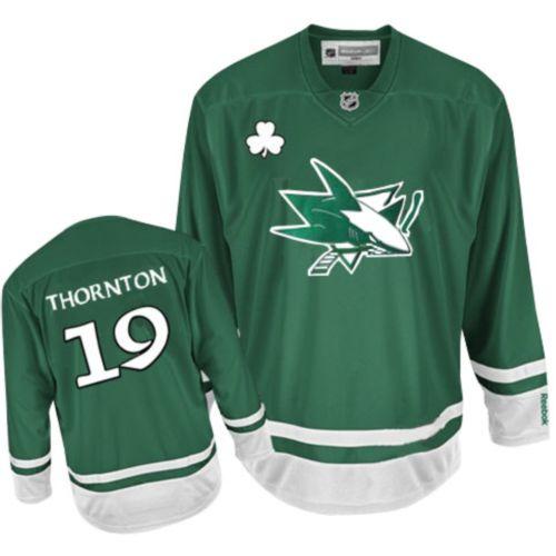e6ac8eaa8 Youth Reebok San Jose Sharks 19 Joe Thornton Premier Green St Pattys Day NHL  Jersey