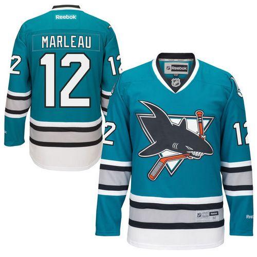 info for 12385 3ae6e Mens Reebok San Jose Sharks 12 Patrick Marleau Premier Teal ...