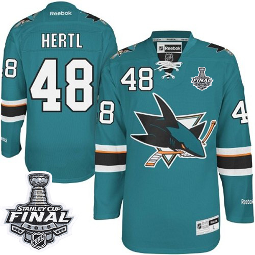 e5b874437 Mens Reebok San Jose Sharks 48 Tomas Hertl Authentic Teal Green Home 2016  Stanley Cup Final Bound NHL Jersey
